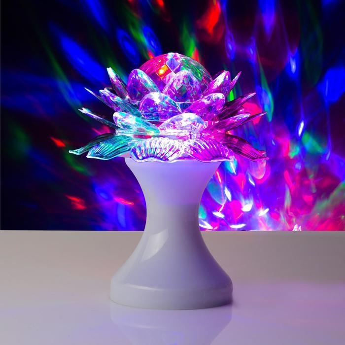 """Световой прибор хрустальный шар """"Цветок"""" d=12.5 см, 220V, БЕЛЫЙ (RGB)"""