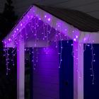 """Гирлянда """"Бахрома"""" 3 х 0.6 м , IP44, УМС, белая нить, 160 LED, свечение фиолетовое, 220 В - Фото 1"""