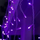 """Гирлянда """"Бахрома"""" 3 х 0.6 м , IP44, УМС, белая нить, 160 LED, свечение фиолетовое, 220 В - Фото 2"""