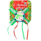 Карнавальный зажим «Снеговик с бантиком»
