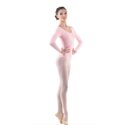 Купальник гимнастический, с длинным рукавом, размер 28, цвет розовый