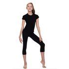 Леггинсы для гимнастики, длина 7/8, размер 30, цвет чёрный