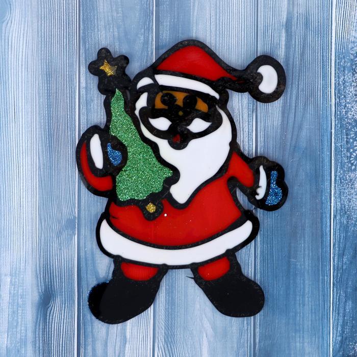 "Наклейка на стекло ""Дед Мороз в колпаке с ёлкой"" 13х10 см"