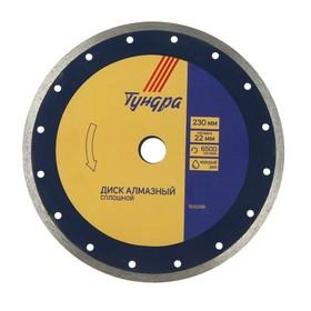 Диск алмазный отрезной TUNDRA, сплошной, мокрый рез, 230 х 22 мм
