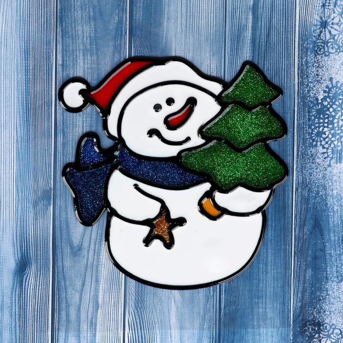 """Наклейка на стекло """"Снеговик с ёлочкой и звёздочкой"""" 11х9,5 см"""