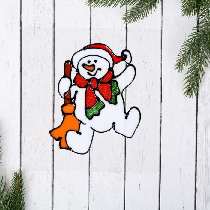 """Наклейка на стекло """"Снеговик с метлой"""" 15,5х12 см"""