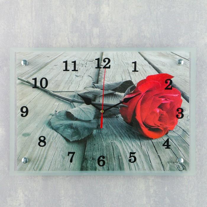 """Часы настенные прямоугольные """"Красная роза"""", 25х35 см"""