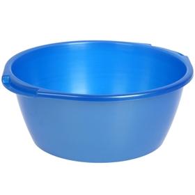 Таз круглый 13 л, цвет голубой с перламутром
