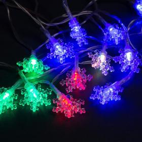 """Гирлянда """"Нить"""" 3 м с насадками """"Снежинки малые"""", IP20, прозрачная нить, 20 LED, свечение RG/RB, мигание, USB"""