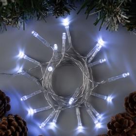 """Гирлянда """"Нить"""" 2 м , IP20, прозрачная нить, 20 LED, свечение белое, 2 режима, 3 х AA"""