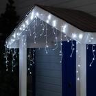 """Гирлянда """"Бахрома"""" 3 х 0.6 м , IP44, УМС, белая нить, 160 LED, свечение белое, 220 В - Фото 1"""