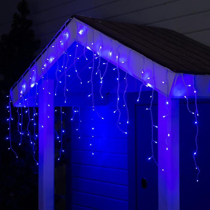 "Гирлянда ""Бахрома"" 3 х 0.6 м , IP44, УМС, белая нить, 160 LED, свечение синее, 220 В"