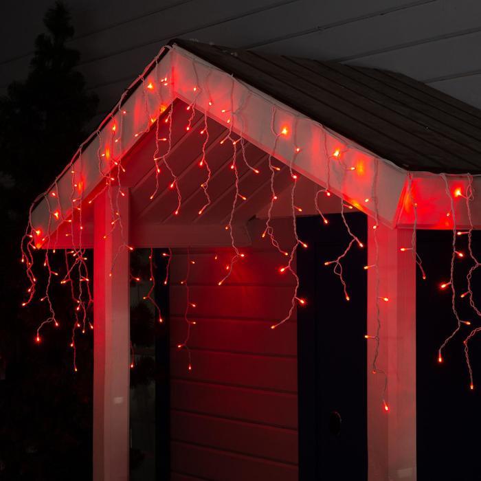 """Гирлянда """"Бахрома"""" 3 х 0.6 м , IP44, белая нить, 160 LED, свечение красное, 220 В"""