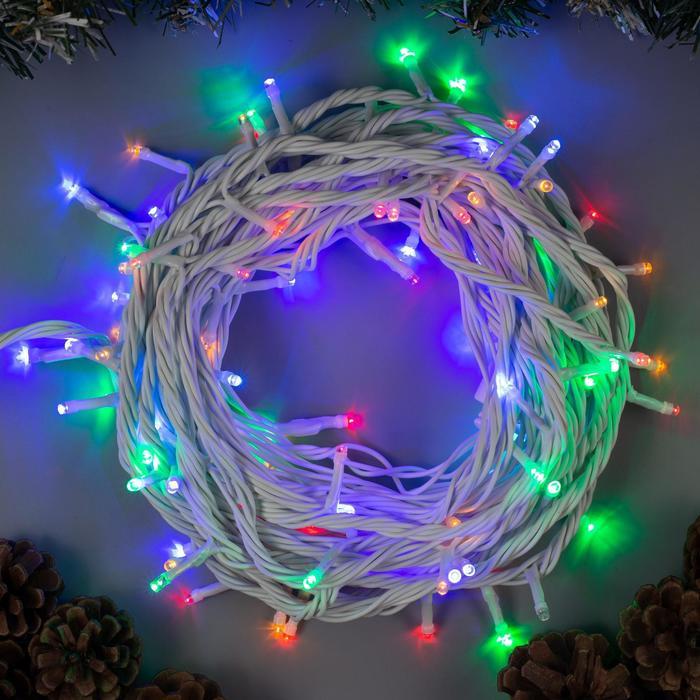 """Гирлянда """"Нить"""" 10 м , IP44, УМС, белая нить, 100 LED, свечение мульти, 220 В"""