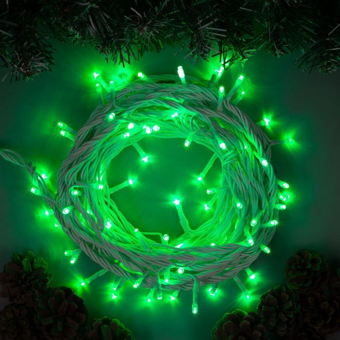 """Гирлянда """"Нить"""" 10 м , IP44, УМС, белая нить, 100 LED, свечение зелёное, 220 В"""