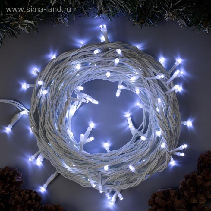 """Гирлянда """"Нить"""" 10 м , IP44, УМС, белая нить, 100 LED, свечение белое, 220 В"""