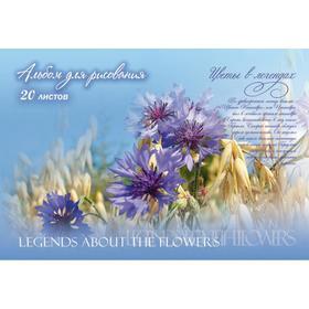 """Альбом для рисования А4, 20 листов на скрепке """"Цветы в легендах"""", обложка мелованный картон, блок офсет 100 г/м2, МИКС"""