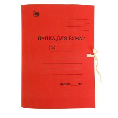 Папка для бумаг А4 на завязках, плотность 370г/м2, на 300 листов, красная - Фото 1
