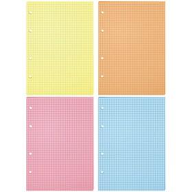 Сменный блок для тетрадей на кольцах А5, 200 листов клетка, 4 цвета Ош