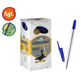Ручка шариковая Carioca Corvina, 51 прозрачный корпус, узел 1.0 мм, чернила синие