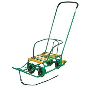 Санки «Тимка 5 универсал» с толкателем, цвет зелёный