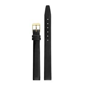 Ремешок для часов, женский, 12 мм, натуральная кожа, черный