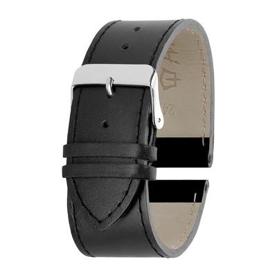 Ремешок для часов, мужской, 24 мм, натуральная кожа, чёрный - Фото 1