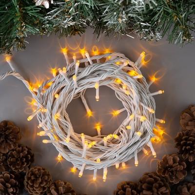 """Гирлянда """"Нить"""" 10 м , IP44, УМС, белая нить, 100 LED, свечение жёлтое, 220 В - Фото 1"""