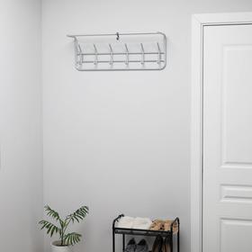 Вешалка настенная с полкой на 6 крючков, 80×21×28 см, цвет белое серебро