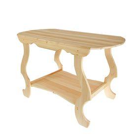 Стол с фигурными ножками с полкой 120х63х73 см, липа Ош