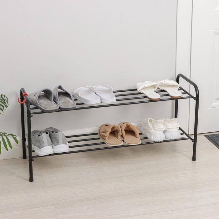 Подставка для обуви, 2 яруса, 87×30×45 см, цвет чёрный
