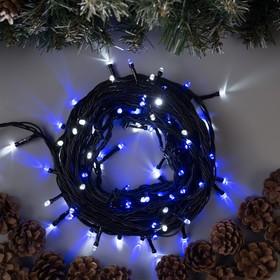 Гирлянда 'Нить' 10 м , IP44, тёмная нить, 100 LED, свечение бело-синее, мигание, 220 В Ош