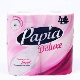 Туалетная бумага PAPIA DELUXE Белая, 4 слоя, 4 рулона