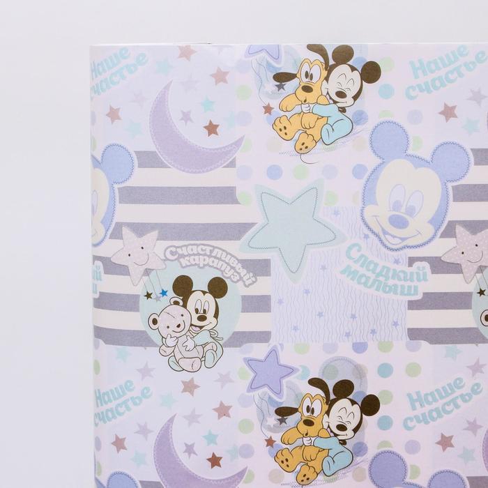 Бумага упаковочная глянцевая Малыш Микки, Микки Маус, Дисней Беби, 70 х 100 см