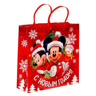 """Пакет подарочный пластик """"С Новым годом"""", Микки Маус, 30 х 30 см"""
