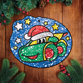 Новогодняя Новогодняя фреска блёстками 'Тачка', набор: блёстки 5 цветов по 2 гр, крепление, стека, клеевые подушечки Ош