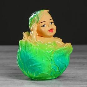 """Копилка """"Малыш в капусте"""", глянец, зелёный цвет, 13 см"""
