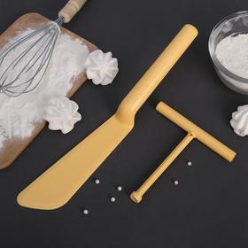 Набор кулинарный 2 предмета: лопатка для блинов 32 см, распределитель теста 13 см Ош