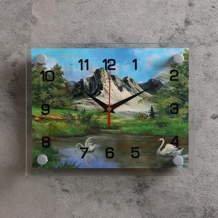 Часы настенные, серия Природа, Лебеди на воде, природа, 20х26 см, микс