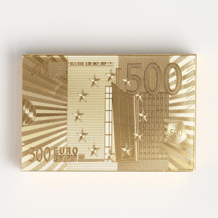Карты игральные пластиковые 500 евро, 54 шт, 30 мкм, 8.75.7 см, золотистые, в шкатулке