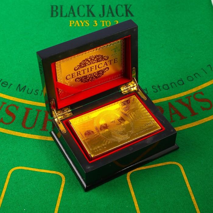 Карты игральные пластиковые 100 долларов, 54 шт, 30 мкм, 8.54,5 см, в шкатулке микс