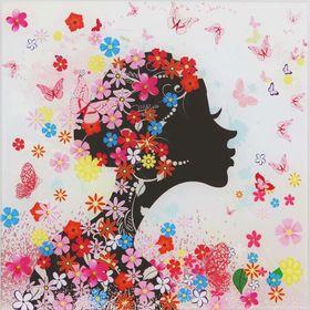 Картина на стекле 'Девушка в цветах (незабудки)'  30*30см Ош