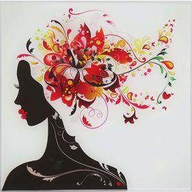 Картина на стекле 'Девушка в цветах (лилия)' 30*30см Ош