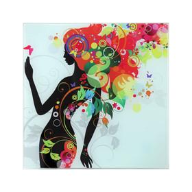 Картина на стекле 'Девушка в цветах (листья)' 30*30см Ош