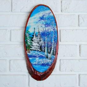 Картина 'Зима' на срезе дерева 35 х 16 х 2 см, каменная крошка Ош