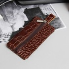 Ключница на молнии, металлическое кольцо, крокодил, цвет коричневый