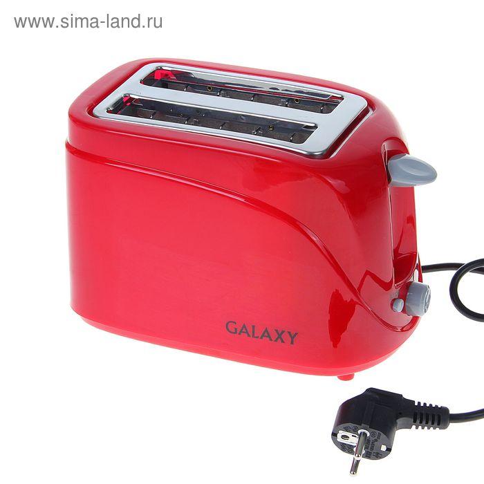 Тостер Galaxy GL 2902, 800 Вт, 6 режимов, съемный поддон для крошек, красный