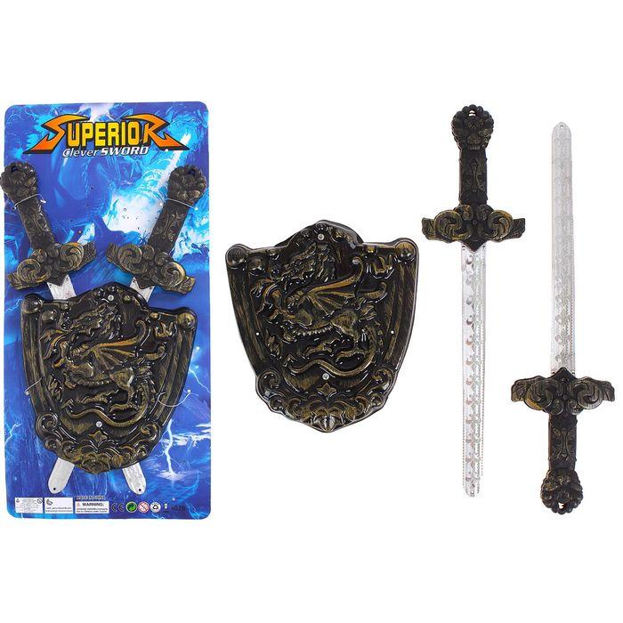 Набор оружия Рыцарь 2 меча р-р 9236 см, щит р-р 17,5219 см