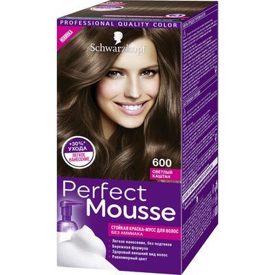 Краска-мусс для волос Perfect Mousse, тон 600, светлый каштан - Фото 1