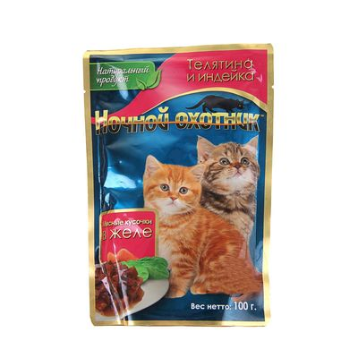 """Влажный корм """"Ночной охотник"""" для котят, телятина/индейка, в желе, 100 г - Фото 1"""
